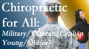 Minster Chiropractic Center provides back pain relief to civilian and military/veteran sufferers and young and old sufferers alike!