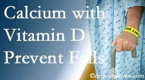 Calcium and vitamin D supplementation may be suggested to Minster chiropractic patients who are at risk of falling.