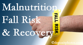 Minster Chiropractic Center checks patients for fall risks which include nutritional status and malnutrition indicators.