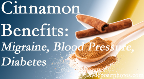 Minster Chiropractic Center shares research on the benefits of cinnamon for migraine, diabetes and blood pressure.