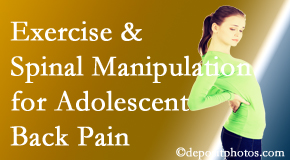 Minster Chiropractic Center uses Minster chiropractic and exercise to help back pain in adolescents.