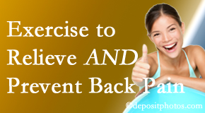 Minster Chiropractic Center urges Minster back pain patients to exercise to prevent back pain and get relief from back pain.