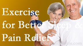 Minster Chiropractic Center incorporates the suggestion to exercise into its treatment plans for chronic back pain sufferers as it improves sleep and pain relief.