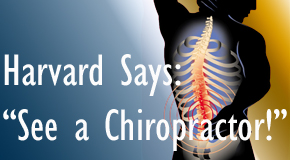 Minster chiropractic for back pain relief urged by Harvard