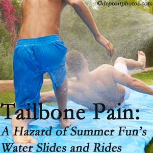 Minster Chiropractic Center uses chiropractic manipulation to ease tailbone pain after a Minster water ride or water slide injury to the coccyx.