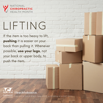 Minster Chiropractic Center advises lifting with your legs.