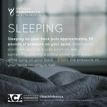 Minster Chiropractic Center recommends putting a pillow under your knees when sleeping on your back.